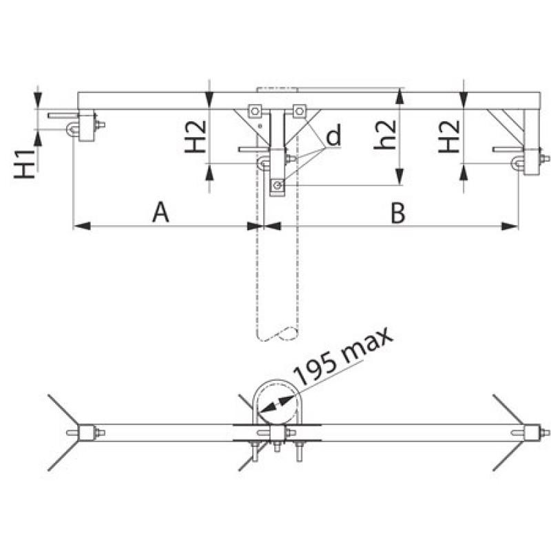 Траверса одноланцюгова проміжна SH153.10